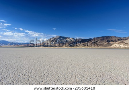 The Racetrack Playa Dry Lake in Death valley National Park in California.Horizontal Image - stock photo