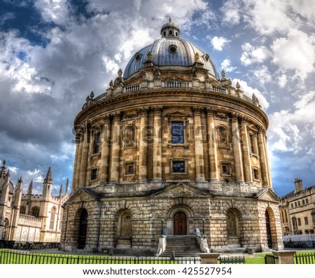 The Radcliffe Camera at Oxford UK. A Palladian-style academic library and reading rooms, designed by James Gibbs. North side view. - stock photo