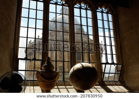 The Radcliffe Camera in Oxford as seen from a window of the Bodleian Library - stock photo