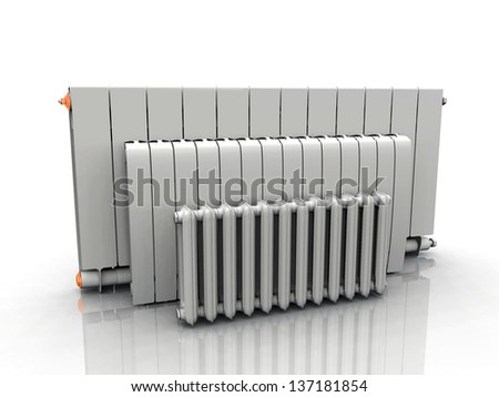 the radiator on a white background - stock photo