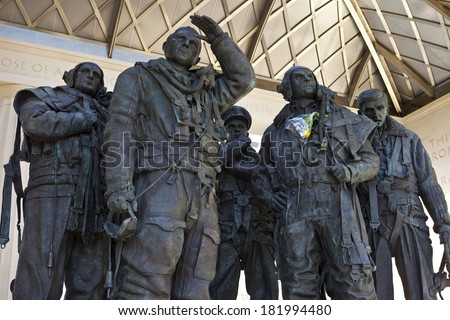 The RAF Bomber Command Memorial, situated in London's Green Park. - stock photo
