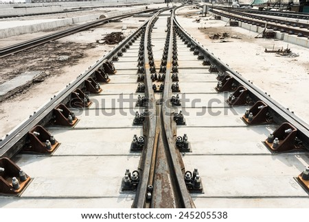 The rail installation on the concrete sleeper