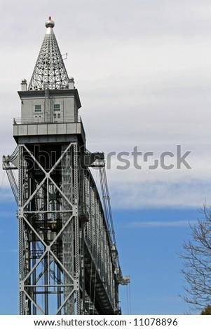 The Railroad Bridge that crosses the Cape Cod Canal in Bourne Massachusetts. - stock photo