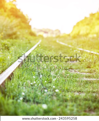 the railroad goes into the distance - stock photo