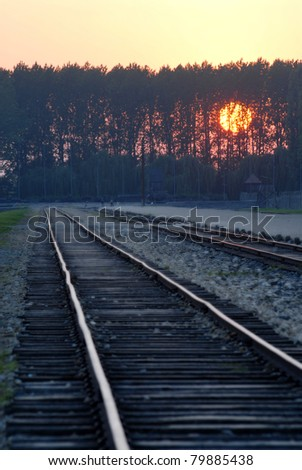 The railroad who ends in the hart of camp Auschwitz Birkenau