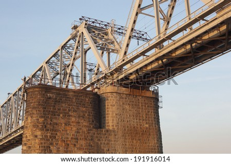 the railway bridge on the blue sky background