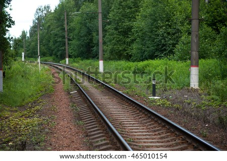 The railway in the countryside in summer