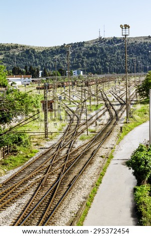 The railway junction in the town of Bar in Montenegro on a sunny summer day - stock photo