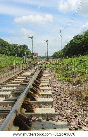 The railway junction is two-way. - stock photo