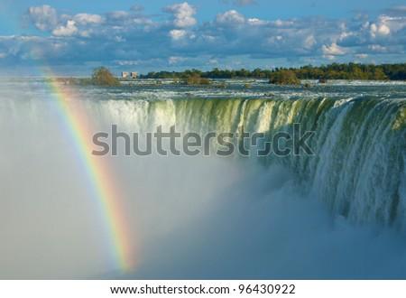 The Rainbow Rainbow at Niagara Falls in a sunny afternoon. - stock photo