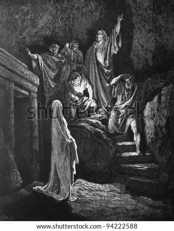 The Raising of Lazarus. 1) Le Sainte Bible: Traduction nouvelle selon la Vulgate par Mm. J.-J. Bourasse et P. Janvier. Tours: Alfred Mame et Fils. 2) 1866 3) France 4) Gustave Doré - stock photo