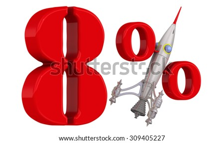 The rapid growth of 8 percent. Red 8 percent with rocket. Isolated on white background. The concept of the rapid growth of interest