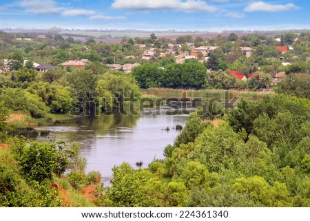 The rapids on a small river near the Ukrainian village  - stock photo
