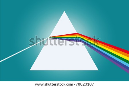 The ray of light falls on a prism then refracts two times - stock photo