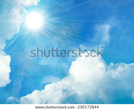 The rays of the sun through the clouds. Cloud background - stock photo