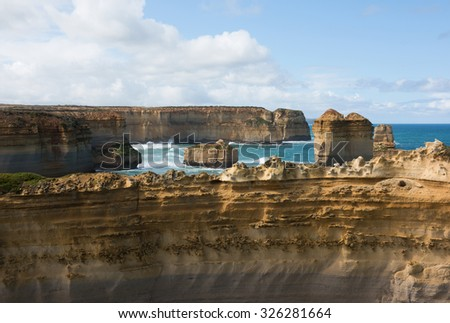 The Razorback limestone rock formation, adjacent to the Great Ocean Road, Victoria, Australia - stock photo