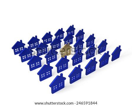 The real estate. Group homes on white background
