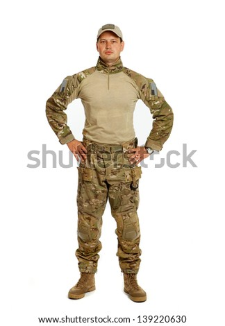 The real U.S. Army soldier, Sgt. Isolated on white background - stock photo