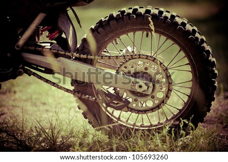 the rear wheel motocross bike on the street