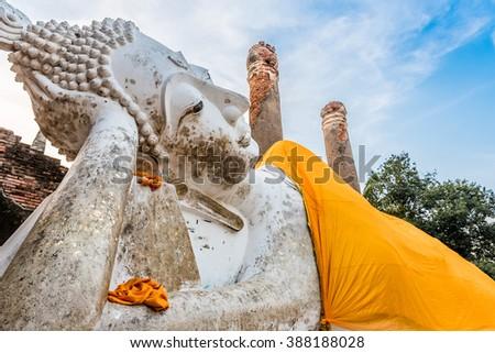 The Reclining Buddha at Wat Yai Chai Mongkol in Ayutthaya, Thailand - stock photo