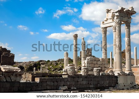 The reconstructed Temple of Trajan at Pergamon, Turkey - stock photo