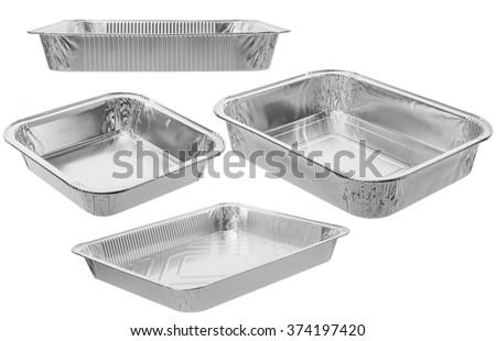 The rectangular shape of the foil for food/Aluminium utensils for baking/Set - stock photo