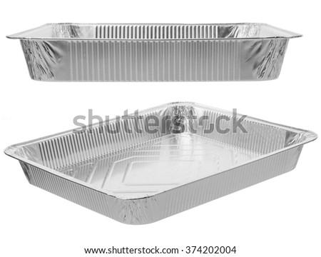The rectangular shape of the foil for food. Aluminum utensils for baking. - stock photo