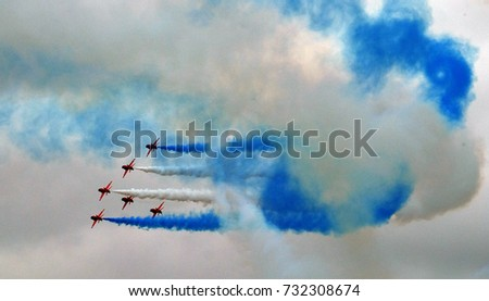 The Red Arrows RAF aerobatic display team in action.