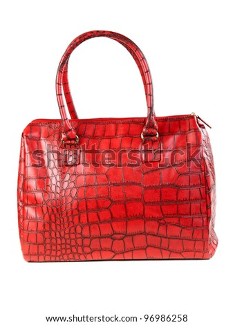 The red bag is fashionable women in the studio on a white background - stock photo