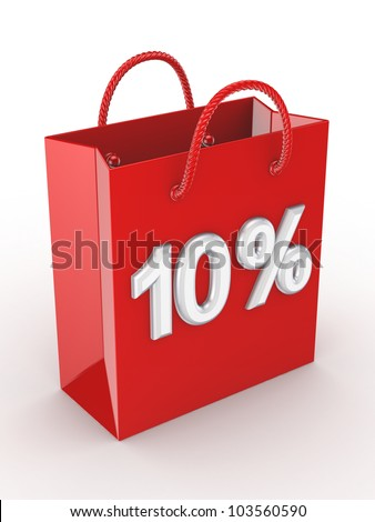 """The red bag labeled """"10%"""".Isolated on white background.3d rendered. - stock photo"""