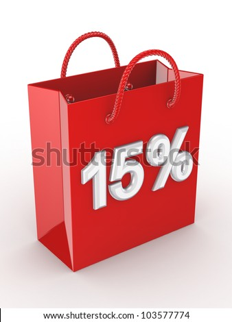 """The red bag labeled """"15%"""".Isolated on white background.3d rendered. - stock photo"""