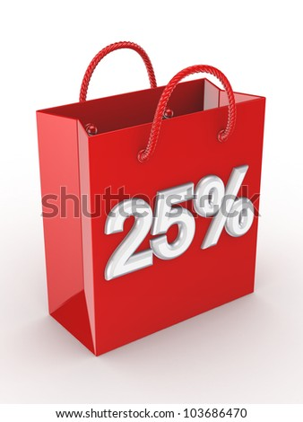 """The red bag labeled """"25%"""".Isolated on white background.3d rendered. - stock photo"""