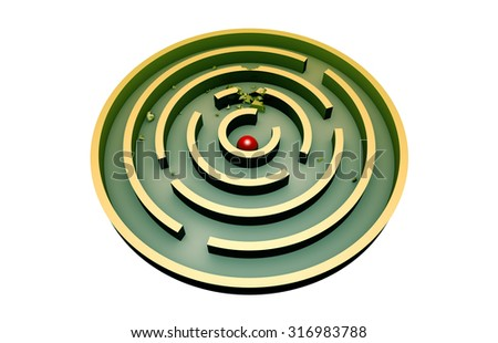 The red ball in the middle of a round turquoise maze. 3d image (isolated white background). - stock photo