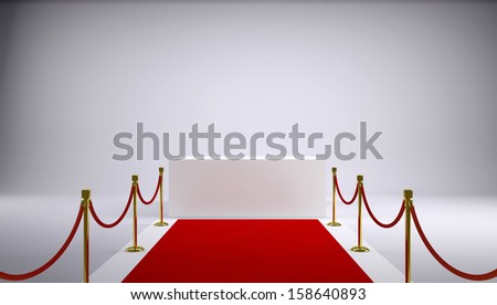 The red carpet and white box. Gray background. 3d rendering
