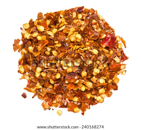The Red Chili Pepper flakes isolated on white background - stock photo