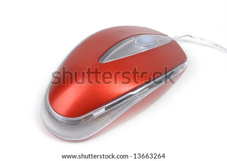 The red computer mouse on a white background