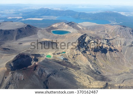 The red crater in Tongariro national park with cold lava stream