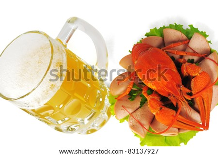 The Red crayfish on saucer and mug of beer. The White background. Isolated.With shade. - stock photo