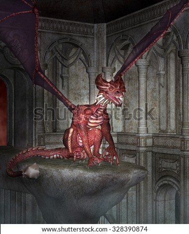 The red dragon - stock photo
