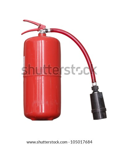 The red fire extinguisher isolated on a white background. - stock photo