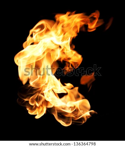 The red flames on a black background. - stock photo