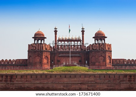 The Red Fort is a large fort complex located in Delhi - stock photo