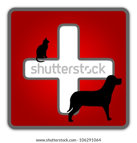 The Red Glossy Style Pet First Aid Sign Isolated on White Background - stock photo