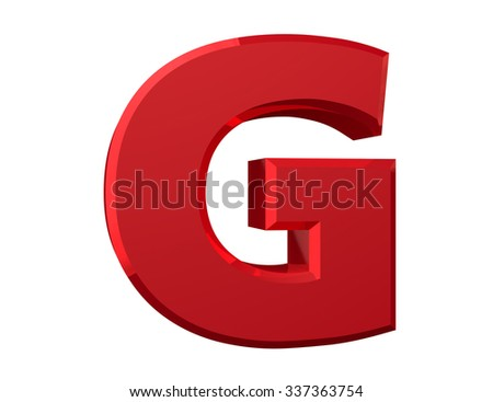 the red letter G on white background 3d rendering - stock photo