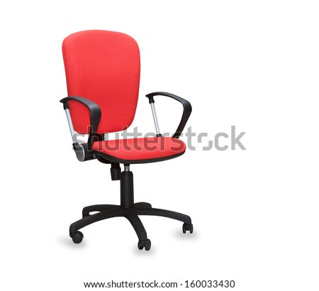 The red office chair. Isolated - stock photo