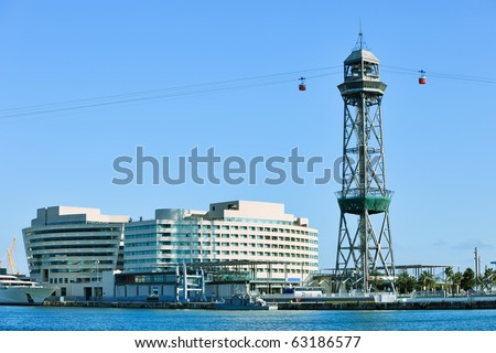 "The red port cable in Barcelona.The official name is Transbordador Aeri del Port, but it is often called the ""Teleferico de Montjuic""."