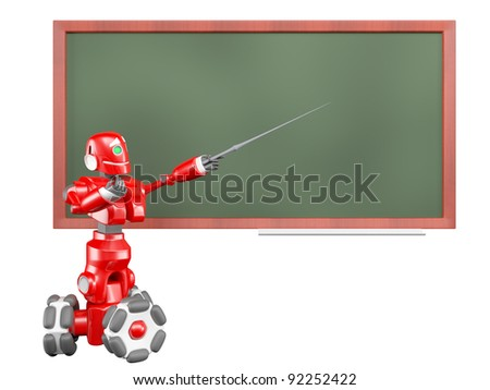 The red robot drives a pointer on the green board
