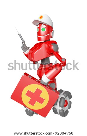 The red robot with a medical bag in hand - stock photo