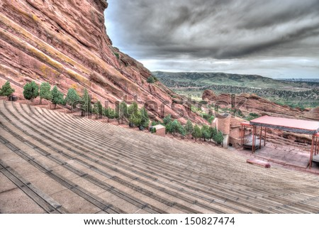 The Red Rocks Amphitheater lanscape formations  in Denver Colorado - stock photo