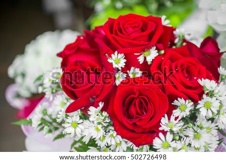 The red rose bouquet , close up style.